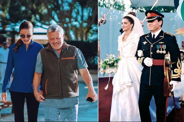 La reine Rania et le roi Abdallah II de Jordanie, photo diffusée le 10 juin 2020. A droite, le jour de leur mariage, le 10 juin 1993