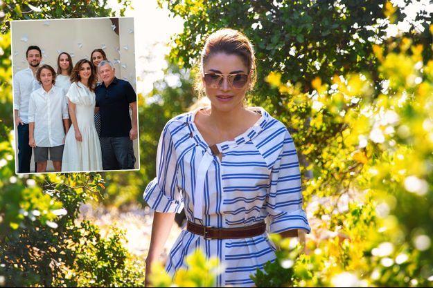 La reine Rania de Jordanie, le 21 juillet 2020. En vignette, la photo de famille qu'elle a diffusée le 31 août 2020 pour ses 50 ans