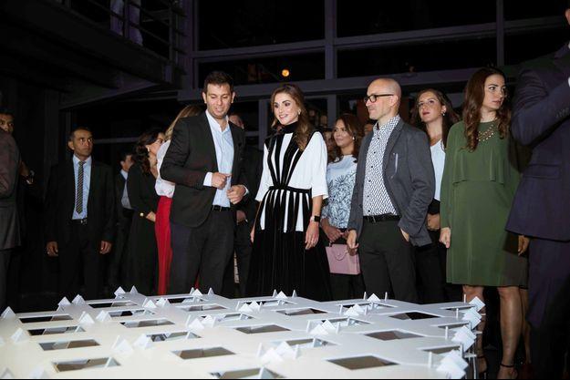 La reine Rania de Jordanie inaugure la Amman Design Week 2017, le 5 octobre 2017