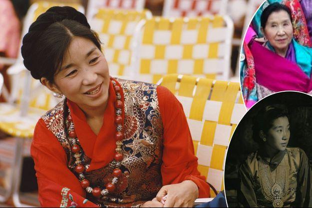 L'ancienne reine consort du Bhoutan Kesang Choden Wangchuck, alors Queen Mum, en juillet 1974. En vignette, photos diffusées sur le compte Instagram de l'actuel souverain, son petit-fils