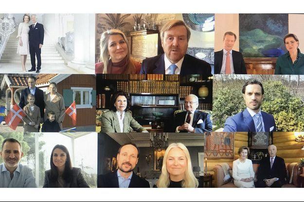 Pour les 80 ans de la reine Margrethe du Danemark (en haut, à gauche), les têtes couronnées de toute l'Europe se sont rassemblées par visioconférence le 16 avril : le roi et la reine de Suède, de Norvège, d'Espagne, de Belgique, du Pays Bas, le grand duc et la duchesse du Luxembourg, le prince héritier de Norvège et son épouse, la princesse héritière de Suède et le prince Carl Philip.