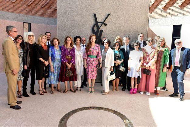 La princesse Lalla Salma du Maroc, avec Catherine Deneuve et Marisa Berenson, lors de l'inauguration du musée Yves Saint Laurent Marrakech, le 14 octobre 2017