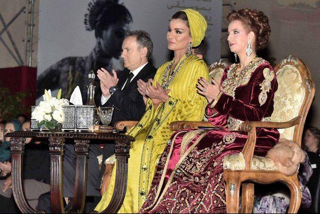 La Sheikha Mozah du Qatar et Lalla Salma du Maroc au Festival de Fès, le 7 mai 2016