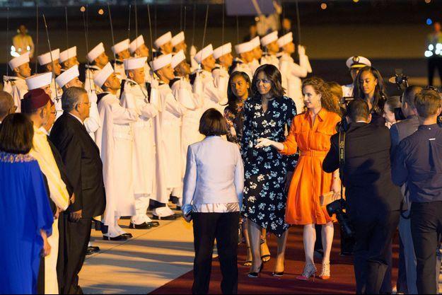 La princesse Lalla Salma du Maroc et Michelle Obama, sa mère et ses filles Malia et Sasha à Marrakech, le 28 juin 2016