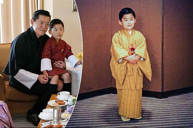 Le prince héritier du Bhoutan avec son père le roi Jigme Khesar Namgyel Wangchuck à Tokyo fin octobre 2019. A droite, en kimono, photo diffusée le 1er novembre 2019