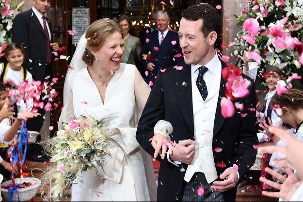 Le prince Filip de Serbie et Danica Marinkovic le 7 octobre 2017, jour de leur mariage