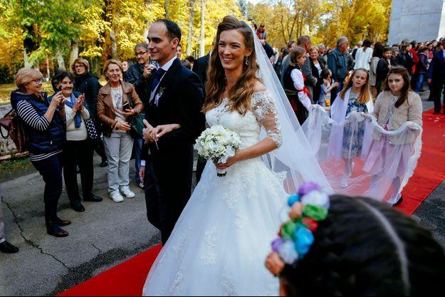 Mariage du prince de Serbie Mihajlo Karadjordjevic et de Ljubica Ljubisavljebvic en l'église orthodoxe Saint-Georges d'Oplenac, le 23 octobre 2016