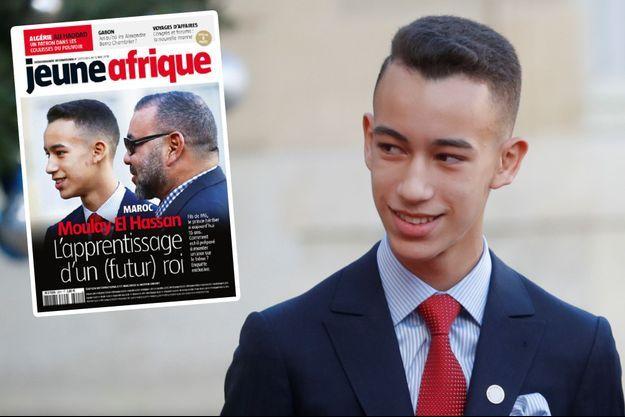 """Le prince Moulay El Hassan -ici à Paris le 12 décembre 2017- a fait le une de """"Jeune Afrique"""" avec son père le roi Mohammed VI du Maroc"""