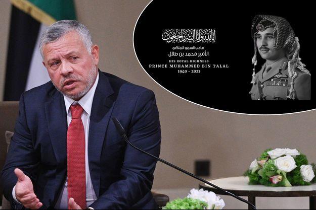 Le roi Abdallah II de Jordanie, le 26 février 2020 – En vignette, annonce du décès de son oncle le prince Muhammed bin Talal par la Cour