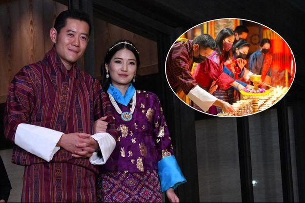 Le roi du Bhoutan Jigme Khesar Namgyel Wangchuck et la reine Jetsun Pema, le 22 octobre 2019 – En vignette, au Dzong de Mongar, le 10 avril 2021
