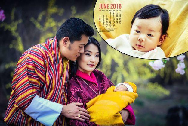 Le prince héritier du Bhoutan à presque 4 mois et avec ses parents le roi Jigme Khesar Namgyel Wangchuk et la reine Jetsun Pema le 19 février 2016