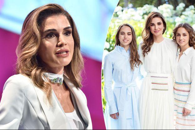 La reine Rania de Jordanie à New York, le 26 septembre 2018. A droite, avec ses deux filles les princesses Salma et Iman