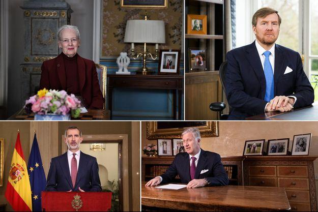 La reine Margrethe II de Danemark, le roi Willem-Alexander des Pays-Bas, le roi Felipe VI d'Espagne et le roi des Belges Philippe, lors de leurs discours à leurs sujets à propos de la pandémie du coronavirus