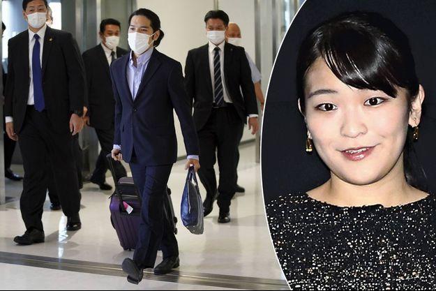 Kei Komuro à son arrivée au Japon, le 27 septembre 2021. En vignette, la princesse Mako du Japon, le 10 décembre 2019