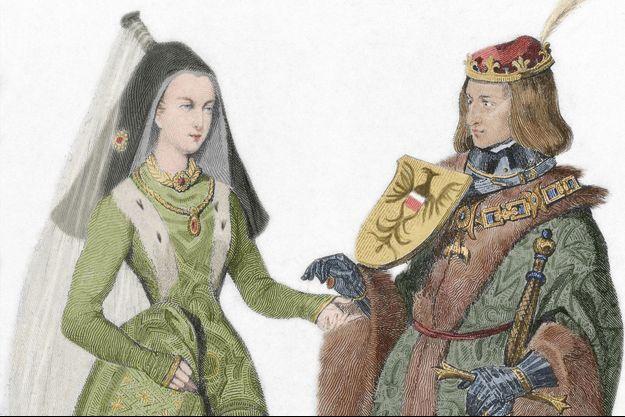 Gravure figurant Marie de Bourgogne et Maximilien d'Autriche (détail)