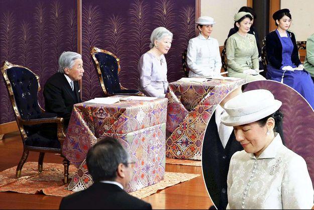 La famille impériale du Japon à Tokyo, le 10 janvier 2018. En médaillon, la princesse Masako du Japon
