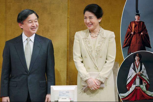 Le prince Naruhito et la princesse Masako du Japon à Tokyo le 13 mars 2019. En vignette, l'empereur Akihito du Japon et l'impératrice Michiko en novembre 1990