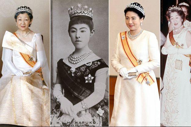 Les impératrices consorts du Japon Michiko (1993) , Haruko (vers 1885), Masako (2020) et Nagako (1971), coiffées de la Meiji Tiara