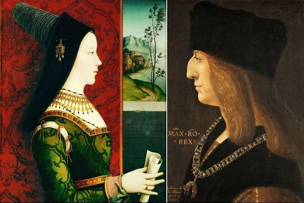 Portraits de la duchesse Marie de Bourgogne par Nicolas Reiser (Kunsthistorisches Museum Vienne) et de l'empereur Maximilien d'Autriche, par Giovanni Ambrogio de Predis (Ambras Castle, Innsbruck)