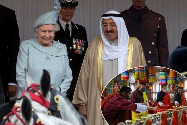 La reine Elizabeth II et l'émir du Koweït, le cheikh Sabah al-Sabah, à Windsor le 27 novembre 2012. En vignette, le roi du Bhoutan a offert des prières suite à sa mort dans un temple de Samdrup Jongkhar