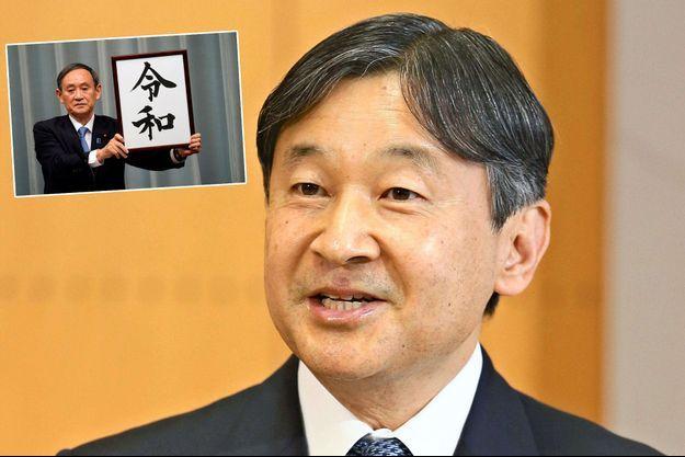 Le prince Naruhito du Japon le 22 février 2019. En vignette, le secrétaire général et porte-parole du gouvernement japonais annonce le nom de la nouvelle ère, le 1er avril 2019