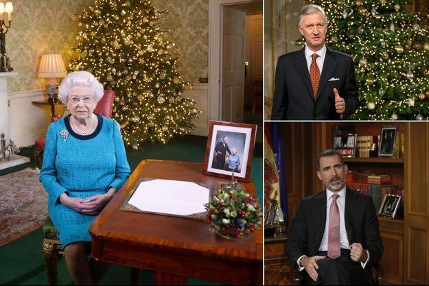 La reine Elizabeth II, le roi des Belges Philippe et le roi Felipe VI d'Espagne lors de leur message de Noël 2016