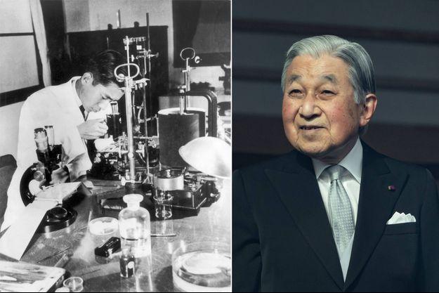 Akihito, alors prince héritier du Japon, dans son laboratoire en 1956. L'empereur émérite Akihito, le 2 janvier 2020