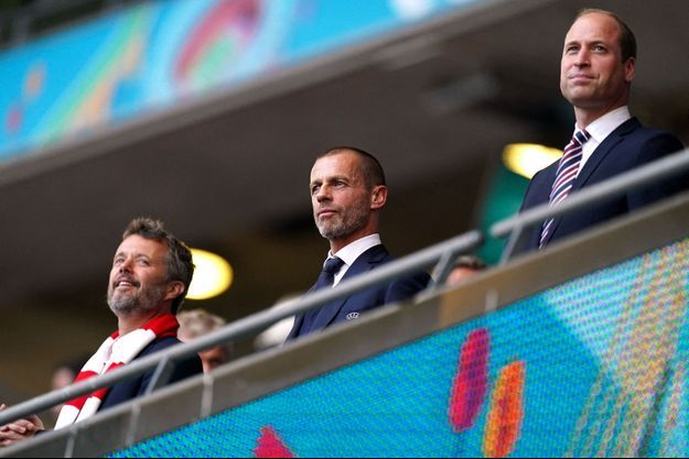 Le prince Frederik de Danemark et le prince William d'Angleterre, au stade de Wembley à Londres, le 7 juillet 2021