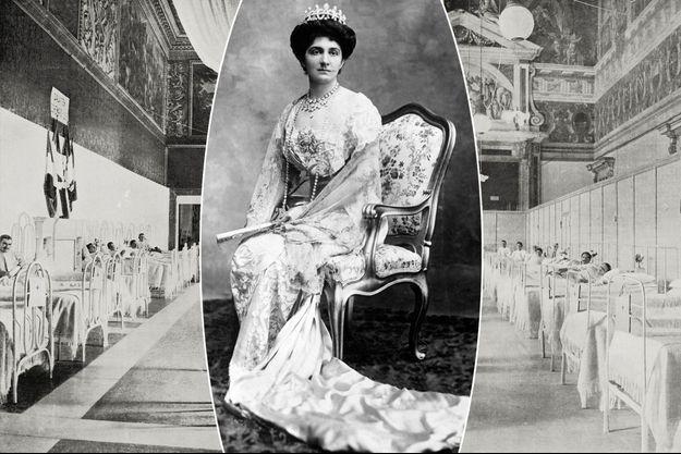 La reine Hélène d'Italie. A gauche et à droite: les salles du trône et des cuirassiers du Palais du Quirinal, transformés en hôpital militaire. Photos publiées dans «L'Illustrazione Italiana», le 26 septembre 1915