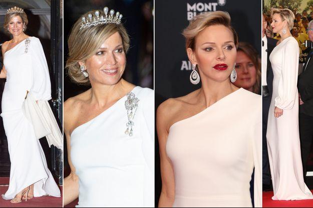 La reine Maxima des Pays-Bas le 9 avril 2019 et la princesse Charlène de Monaco le 27 février 2018