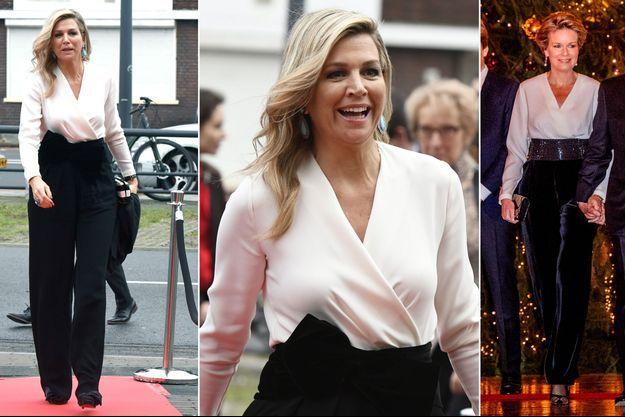 La reine Maxima des Pays-Bas et la reine des Belges Mathilde portent presque la même tenue le 19 décembre 2018