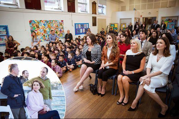 La reine Rania de Jordanie à Sydney, le 25 novembre 2016. En médaillon, avec le roi Abdallah II et les princes Ali et Hashem