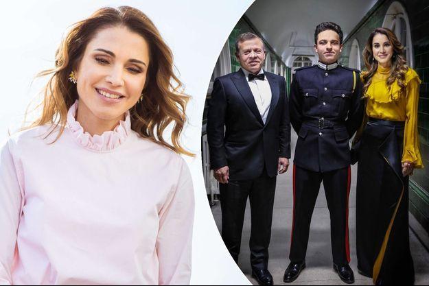 La reine Rania de Jordanie le 24 janvier 2017. A droite, à Sandhurst avec le roi Abdallah II et le prince Hussein en mars 2017