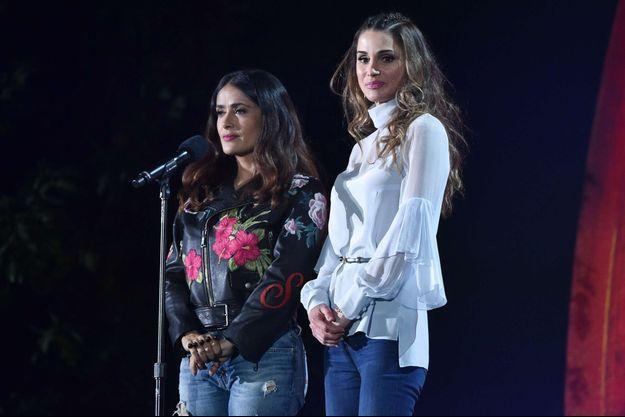 La reine Rania de Jordanie et Salma Hayek à New York, le 24 septembre 2016