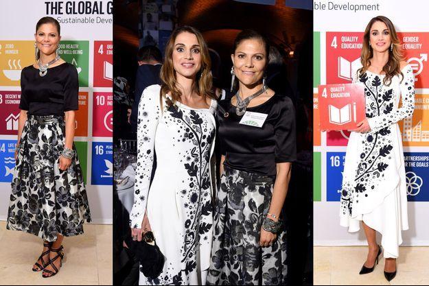 La princesse Victoria de Suède et la reine Rania de Jordanie à New York, le 20 septembre 2016