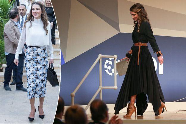 La reine Rania de Jordanie à Amman le 3 octobre et à Berlin le 6 octobre 2016