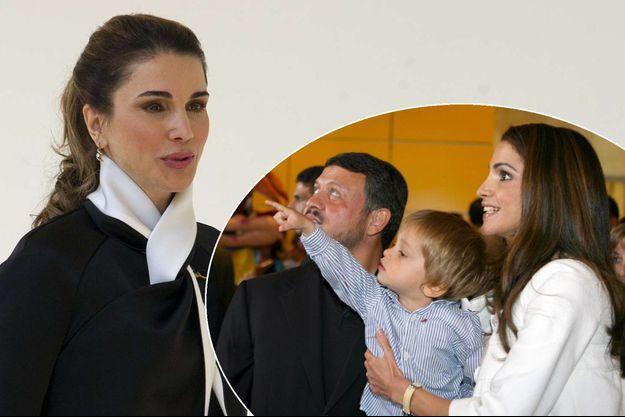 La reine Rania de Jordanie le 5 avril 2017. En médaillon, en 2007 avec le roi Abdallah II et le prince Hashem