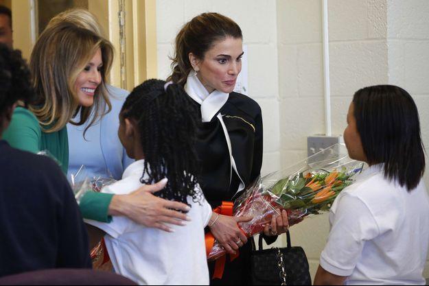 La reine Rania de Jordanie et Melania Trump à Washington, le 5 avril 2017
