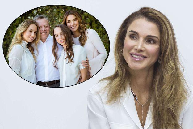 La reine Rania de Jordanie le 22 août 2017. En médaillon : en photo avec le roi Abdallah II et leurs filles les princesses Iman et Salma de Jordanie