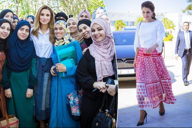 La reine Rania de Jordanie à Amman les 11 et 16 octobre 2017