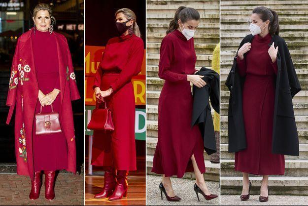 La reine Maxima des Pays-Bas à Utrecht, le 7 octobre 2020 - La reine Letizia d'Espagne à Madrid, le 16 février 2021