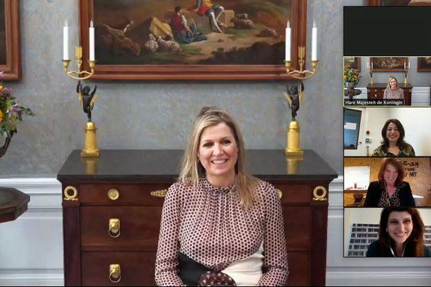 La reine Maxima des Pays-Bas en visite de travail virtuelle avec Elance Academy, le 8 mars 2021