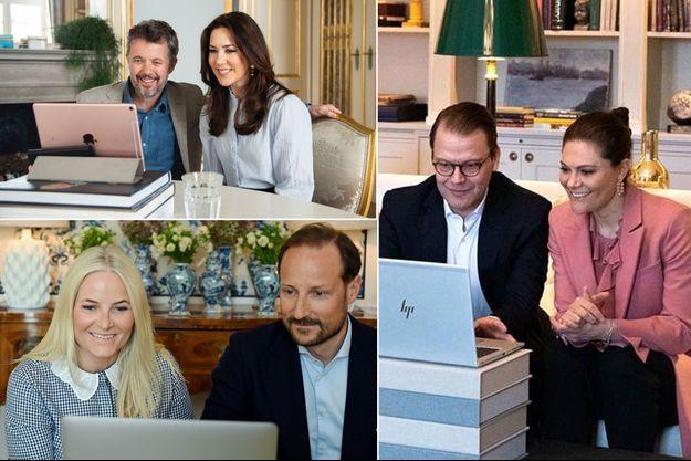 La princesse Mary et le prince Frederik de Danemark, la princesse Mette-Marit et le prince Haakon de Norvège, la princesse Victoria et le prince Daniel de Suède en visioconférence, le 26 avril 2021