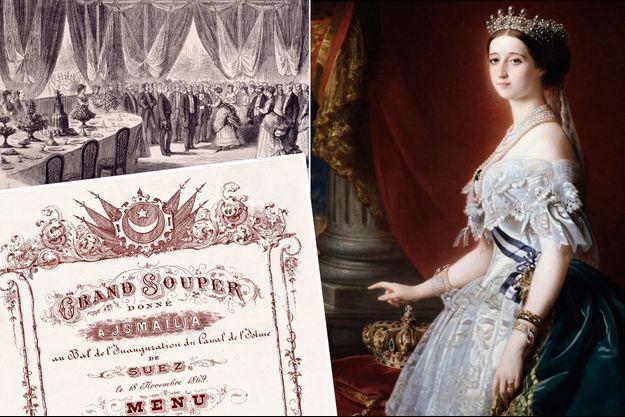 Vue de la salle du grand souper d'Ismaïlia du 18 novembre 1869 et son menu. A droite, l'impératrice Eugénie (portrait par Winterhalter)