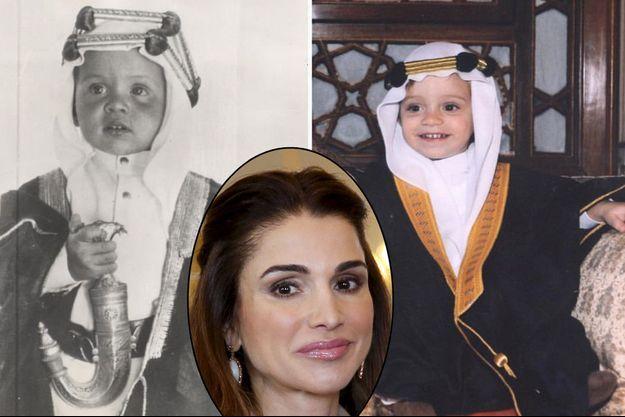 Montage de deux photos du roi Abdallah II de Jordanie enfant et du prince Hashem posté sur Facebook par la reine Rania de Jordanie (en médaillon, le 12 janvier 2016)