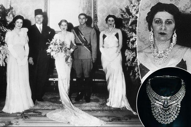 La reine Nazli d'Egypte portant un collier Van Cleef & Arpels, pour le mariage de sa fille la princesse Fawzia, au Caire, le 30 mars 1939. En vignette, le collier exposé au Museum national d'histoire naturelle à Paris, le 15 septembre 2020