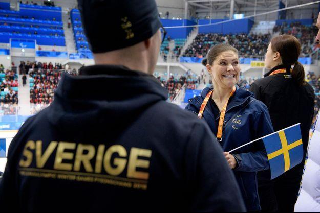 La princesse Victoria de Suède au Jeux paralympiques d'hiver 2018 à Pyeongchang, le 16 mars 2018