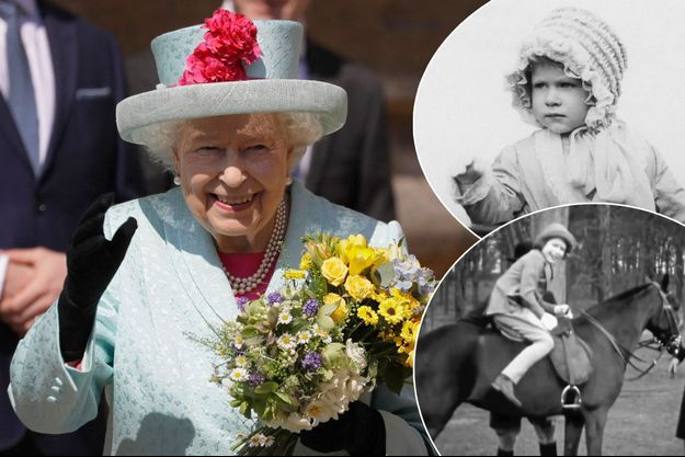 La reine Elizabeth II, le 17 mars 2020. En vignettes, la princesse Elizabeth, enfant et adolescente