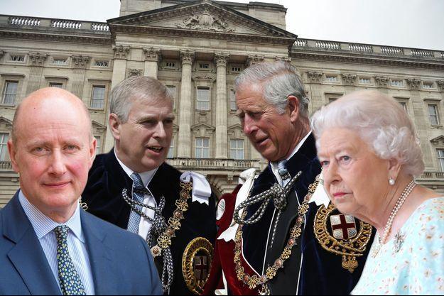 Sir Christopher Geidt, le prince Andrew, le prince Charles et la reine Elizabeth II, devant Buckingham palace