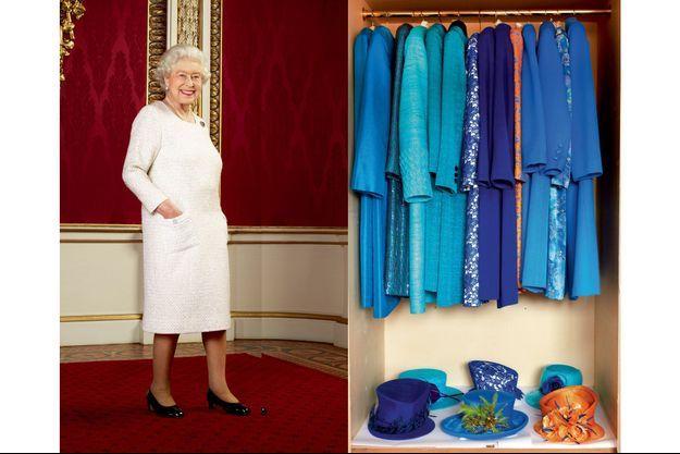 Elizabeth II comme vous ne l'aviez jamais vue : les mains dans les poches. La souveraine en rêvait, sa styliste l'a fait. A d. : Echantillon du dressing royal, période bleue.